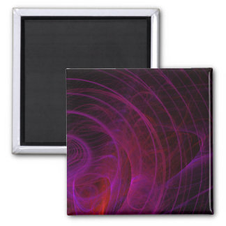 Purple Shock Wave Fractal Flame 2 Inch Square Magnet