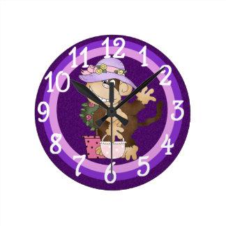 Purple Shopping Monkey design Wall Clock