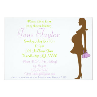 Purple Silhouette Baby Shower Invitations