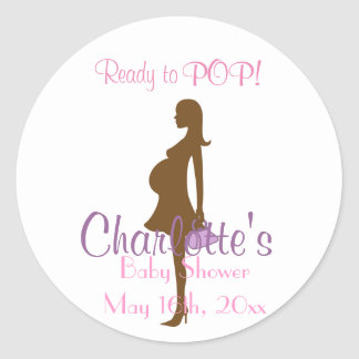 Purple Silhouette Baby Shower Party Favor Stickers
