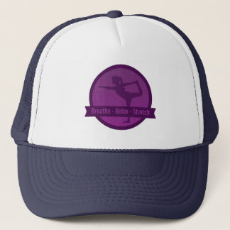 Purple Silhouette of Lady in a Stretch Position Trucker Hat