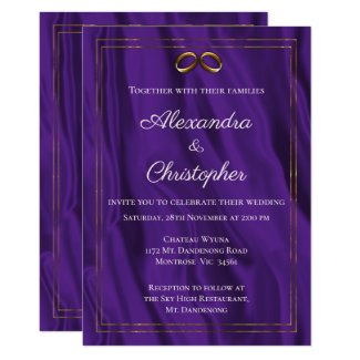 Purple Silk and Gold Wedding Invitation