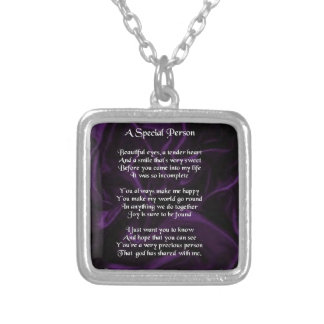 Purple Silk - Special Person poem Silver Plated Necklace