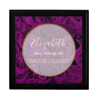 Purple Silk Will You Be My Bridesmaid Proposal Box