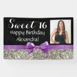 Purple Silve Glitter Photo Sweet 16 Birthday Party Banner