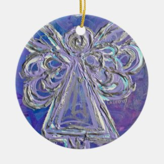Purple Silver Angel Ornament