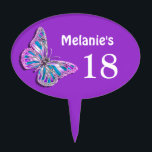 """Purple silver aqua birthday girls cake topper<br><div class=""""desc"""">No cake is complete without a vibrant, eye-catching &quot;cake topper&quot; to finish it off. DESIGN - A beautiful silver butterfly with blue and purple pink silvery wings is framed by a lavender purple background and has customizable templates for your to personalize. IDEAL FOR - All special birthday, engagement, &quot;bridal shower&quot;,...</div>"""