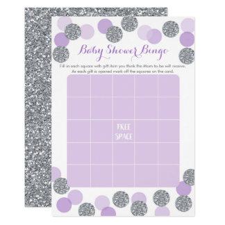 Purple & Silver Baby Shower Bingo Game Card