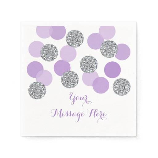 Purple & Silver Baby Shower Napkins