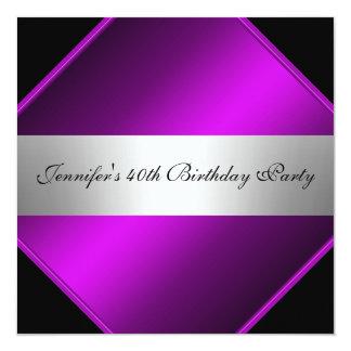 Purple Silver  Birthday Party Invitation