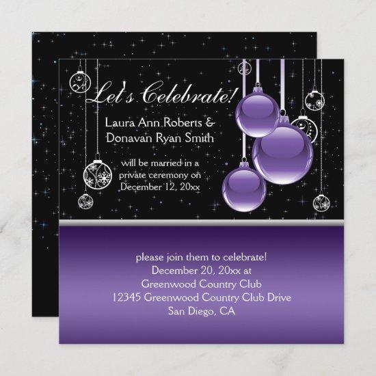 Purple Silver Black Christmas Post Wedding Invitation