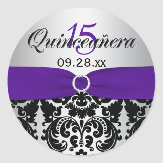 Purple, Silver, Black Damask Quinceanera Sticker
