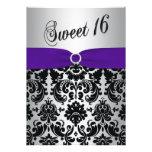 Purple, Silver, Black Damask Sweet 16 Invitation