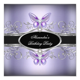 Purple Silver Black Jewel Butterfly Birthday Party Card