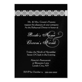 PURPLE SILVER BLACK Rehearsal Dinner Invitation