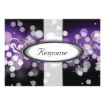 Purple Silver Bright Lights Wedding Response RSVP Custom Announcements