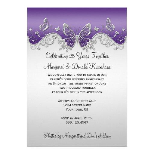 Purple Silver Butterflies 25th Anniversary Invites