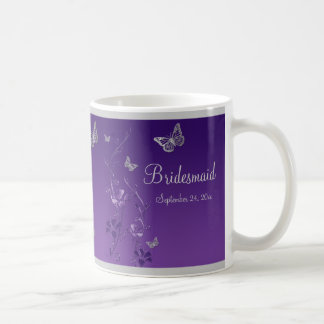 Purple, Silver Butterflies, Floral Bridesmaid Mug