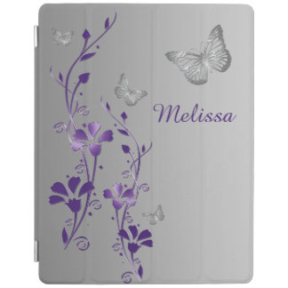 Purple Silver Butterflies Floral iPad 2 3 4 Cover iPad Cover