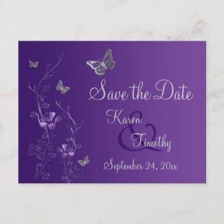 Purple, Silver Butterflies Save the Date Postcard zazzle_postcard