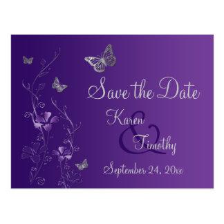 Purple, Silver Butterflies Save the Date Postcard