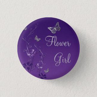 Purple Silver Butterfly Floral Flower Girl Pin