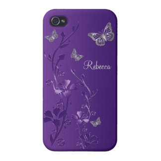Purple, Silver Butterfly Floral iPhone 4 Case
