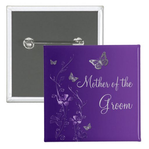 Purple Silver Butterfly Floral Mother of Groom Pin