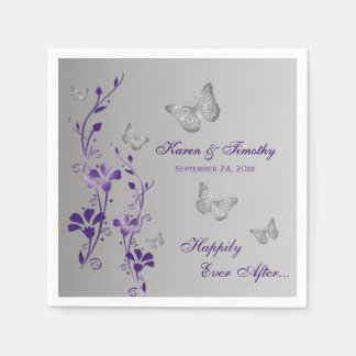 Purple Silver Butterfly Floral Paper Napkins 2 Disposable Napkin
