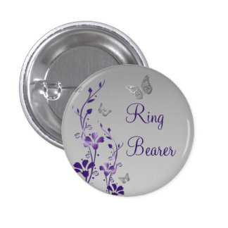 Purple Silver Butterfly Floral Ring Bearer Pin