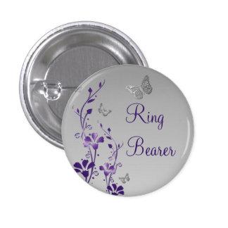 Purple Silver Butterfly Floral Ring Bearer Pin