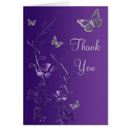 Purple Silver Butterfly Floral Thank You Note Card