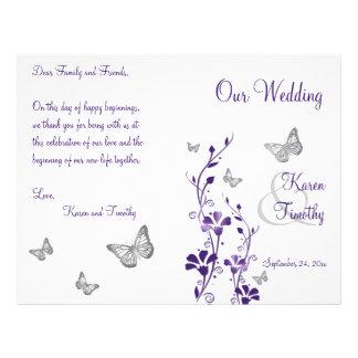 Purple Silver Butterfly Floral Wedding Program