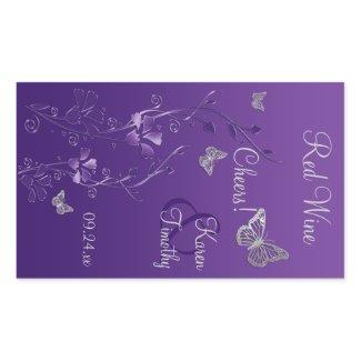 Purple, Silver Butterfly Floral Wine Label Sticker