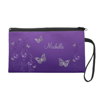 Purple Silver Butterfly Floral Wristlet Bag