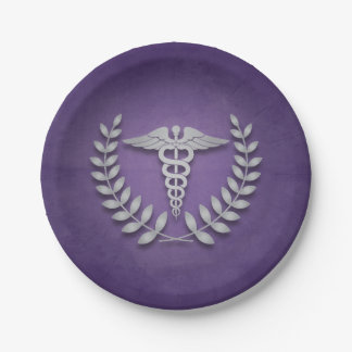 Purple + Silver Caduceus Medical Doctors Party Paper Plate