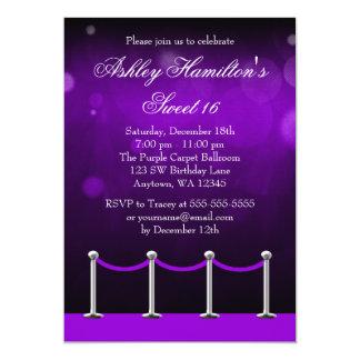 Purple Silver Carpet Hollywood Sweet 16 Birthday Card