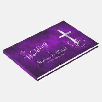 Purple Silver Christian Cross Wedding Guest Book