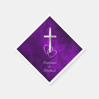 Purple Silver Christian Cross Wedding Paper Napkin