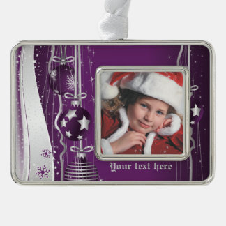 Purple silver Christmas balls stars and snowflakes Silver Plated Framed Ornament