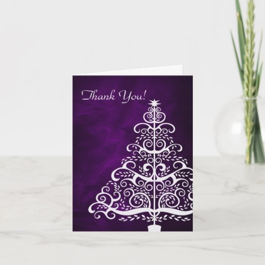 purple silver christmas tree thank you