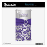 Purple Silver Damask iPhone 4/4s Skin iPhone 4S Decal
