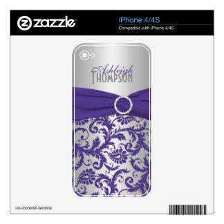Purple Silver Damask iPhone 4/4s Skin
