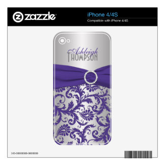 Purple Silver Damask iPhone 4/4s Skin iPhone 4 Decal
