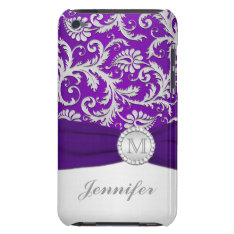Purple, Silver Damask Ipod Touch Case at Zazzle