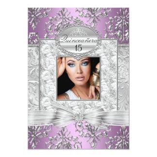 Purple & Silver Damask Quinceanera Announcements