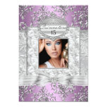 "Purple & Silver Damask Quinceanera Announcements 5"" X 7"" Invitation Card"