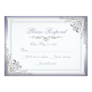 Purple & Silver Damask RSVP Reply Card