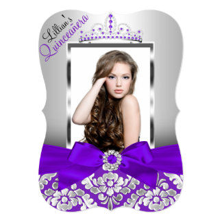 Purple Silver Damask & Tiara Photo Quinceanera Card