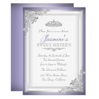 Purple Silver Damask & Tiara Sweet 16 Invitation